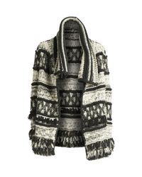 Yigal Azrouël Black Fringe Trim Throw Sweater