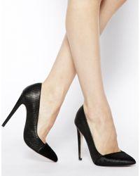 Miss Kg Black Eden Asymmetric Heeled Court Shoes