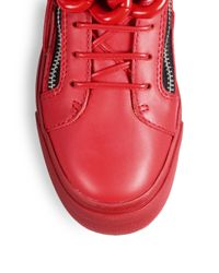 Giuseppe Zanotti - Red Tonal Chain Sneakers - Lyst