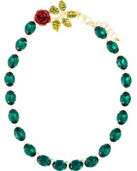Dolce & Gabbana - Green Rose Crystal Beads Necklace - Lyst