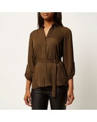 River Island - Brown Khaki Green Belted Shirt - Lyst