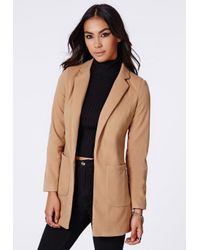 Missguided - Natural Vanessa Camel Tailored Coat - Lyst