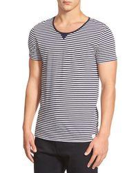 Scotch & Soda - Black Striped Crewneck T-Shirt for Men - Lyst