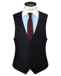 John Lewis Blue Milled Fine Stripe Wool Tailored Waistcoat for men
