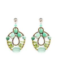 Ziio | Green Murano Glass Bead Earrings | Lyst