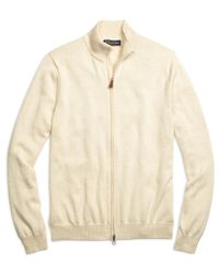 Brooks Brothers | Natural Supima® Cotton Full-zip Sweater for Men | Lyst