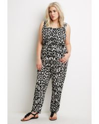 Forever 21 - Black Plus Size Abstract Print Jumpsuit - Lyst