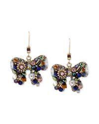 Betsey Johnson - Metallic Woven Cluster Bow Drop Earring - Lyst
