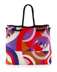 Emilio Pucci - Purple Kaleidoscope-Print Large Canvas Bag - Lyst