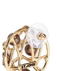 St. John | Metallic 'cage' Pearl Earrings | Lyst