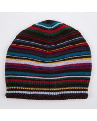 Paul Smith Black Multistripe Beanie Hat for men