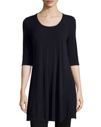 Eileen Fisher | Blue Half-sleeve Silk Jersey Tunic | Lyst
