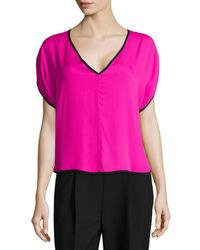 MILLY | Pink Silk V-neck Dolman Top | Lyst