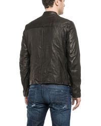 Replay - Black Leather Jacket for Men - Lyst