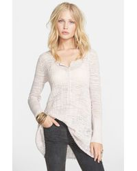 Free People | Natural Sheer Ribbed Henley Top | Lyst