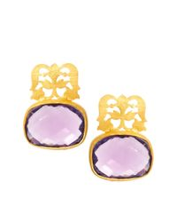 Kasturjewels - Purple 22kt Gold Plated Brass Intricate Filigree Stone Earrings - Lyst