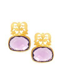 Kasturjewels | Purple 22kt Gold Plated Brass Intricate Filigree Stone Earrings | Lyst