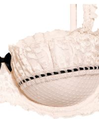 H&M Natural Balconette Bra In Lace