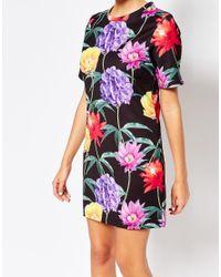Jaded London | Black Wallpaper Floral T-shirt Dress - Multi | Lyst