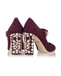 Dolce & Gabbana Multicolor Crystal-embellished Suede Mary Jane Pumps