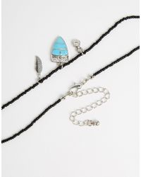 ASOS Black Festival Bead Choker Necklace With Feather Charm