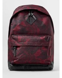 TOPMAN - Red Burgundy And Black Paisley Backpack for Men - Lyst