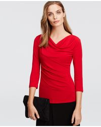 Ann Taylor | Red Petite Crepe 3/4 Sleeve Cowl Neck Top | Lyst