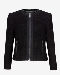 Ted Baker - Black Collarless Textured Jacket - Lyst