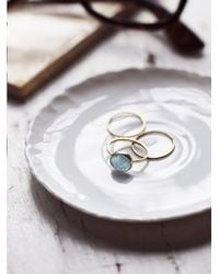 Free People - Metallic Aquamarine Slice Ring - Lyst