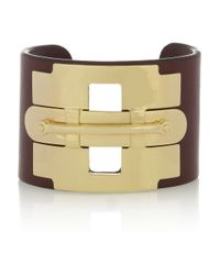 Tod's | Metallic Gold-tone and Leather Cuff | Lyst