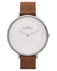 Skagen | Brown 'ditte' Leather Strap Watch | Lyst