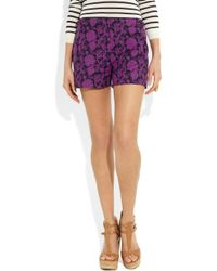 Tory Burch - Purple Brach Floral-Print Cotton-Twill Shorts - Lyst