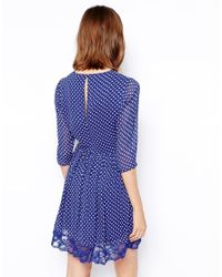 ASOS - Blue Skater Dress In Spot Print With Lace Hem - Lyst
