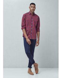 Mango | Purple Slim-fit Check Cotton Shirt for Men | Lyst