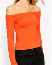 ASOS Orange The Off Shoulder Top With Long Sleeves