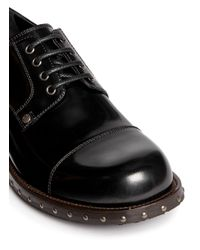 Dolce & Gabbana Black Metal Stud Leather Derbies