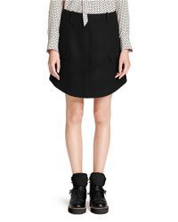 COACH Black X Blitz Round Hem Melton Wool Skirt