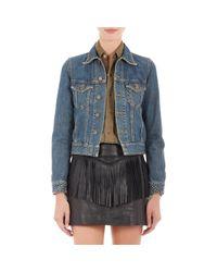 Saint Laurent - Blue Studded Jeans Jacket - Lyst