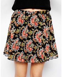 ASOS - Multicolor Pleated Skater Skirt In Woven Floral Print - Lyst