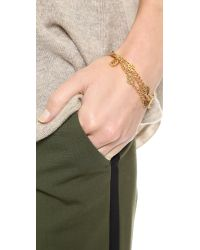 Tory Burch Metallic Multi Strand Logo Bracelet Shiny Gold