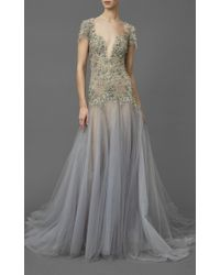 Marchesa Gray Illusion Tulle A-line Gown