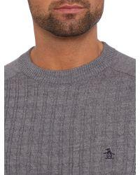 Original Penguin Gray Crew Neck Merino Cable Knit Jumper for men