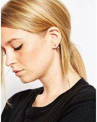 ASOS | Metallic Simple Swing & Stud Earrings | Lyst