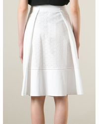 Ferragamo - White Perforated A-Line Skirt - Lyst
