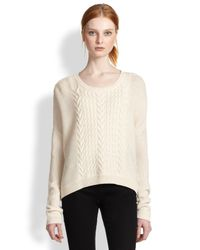 Alice + Olivia - Natural Wool Cable-knit Pullover - Lyst