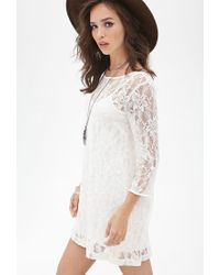 Forever 21 - Natural Floral Lace Shift Dress - Lyst