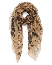 Burberry - Brown Animal Print Silk Georgette Scarf - Lyst