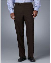 Lauren by Ralph Lauren | Brown Classic Fit Mid-Weight Flat-Front Wool Trouser Pants for Men | Lyst