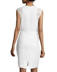 Nicole Miller - White Dorian Linen Lace-panel Sheath Dress - Lyst