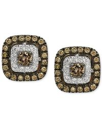 Le Vian Chocolatier Brown And White Diamond Stud Earrings In 14k White Gold (9/10 Ct. T.w.)